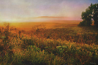 Photograph - Foggy Dawn Kansas Prairie by Anna Louise