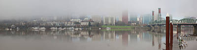 Foggy Day Along Portland Waterfront Panorama Art Print