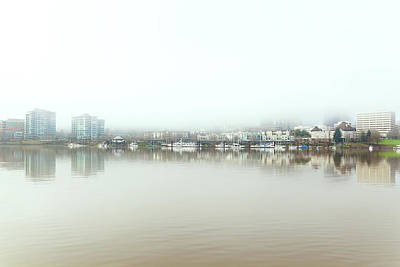 Photograph - Foggy Day On Portland Downtown Waterfront by David Gn