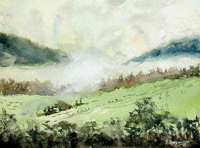 Painting - Foggy Day At Boonah, Australia by Sof Georgiou