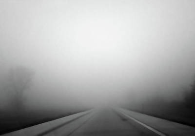 Photograph - Foggy Drive 1 Bw by Mary Bedy