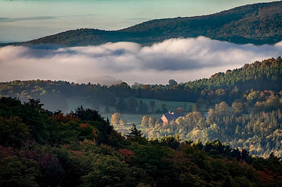 Photograph - Foggy Early Autumn Color by Jeff Folger