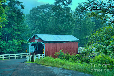 Photograph - Foggy Evening At The Packsaddle Covered Bridge by Adam Jewell