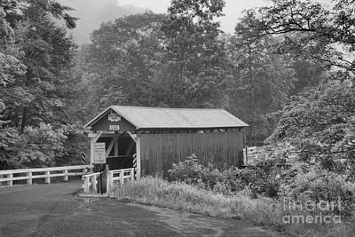 Photograph - Foggy Evening At The Packsaddle Covered Bridge Black And White by Adam Jewell