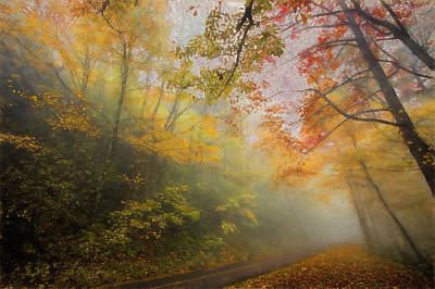 Autumn Landscape For Sale Painting - Foggy Fall Foliage II by Dan Carmichael