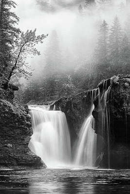 Foggy Falls Monochrome Print by Darren White