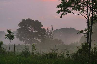 Photograph - Foggy Farm Field At Dawn by Kathryn Meyer