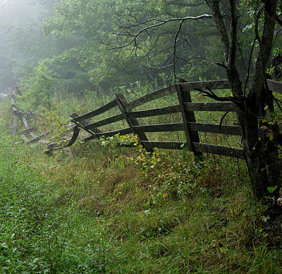 Photograph - Foggy Fence Left Standing by Douglas Barnett