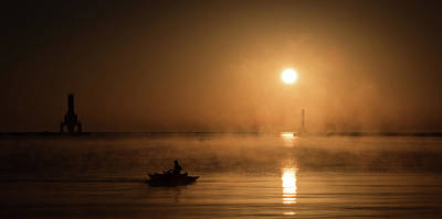 Photograph - Foggy Fire Boater by James Meyer