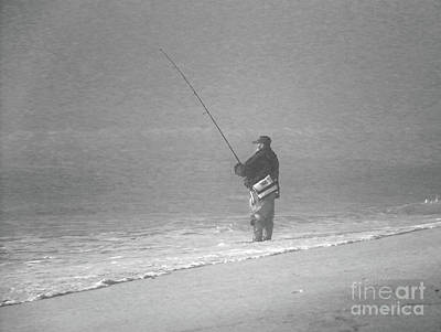 Photograph - Foggy Fisherman In Bw by Mary Haber