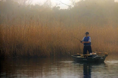 Foggy Fishing Art Print