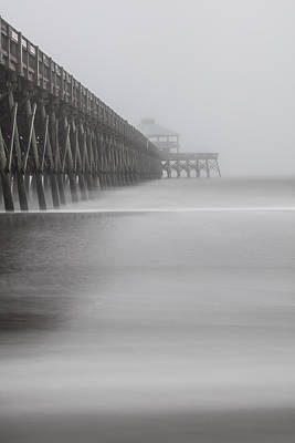 Foggy Folly Beach Pier Art Print by John McGraw