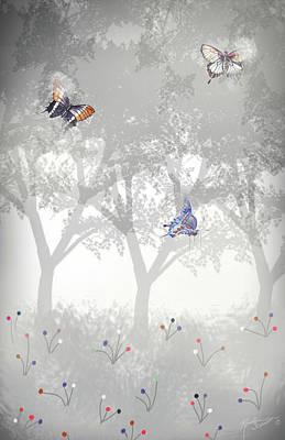 Digital Art - Foggy Forest With Giant Butterflies by Rosalie Scanlon