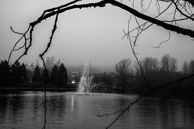 Photograph - Foggy Grey Fountain by Perggals - Stacey Turner