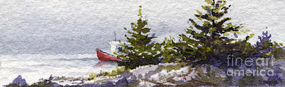 Lobster Boat Maine Painting - Foggy Maine Cove by Heidi Gallo