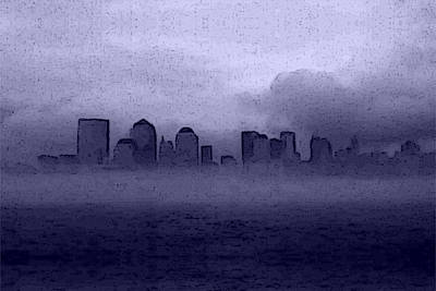 Digital Art - Foggy Manhatten Blue by Keshava Shukla
