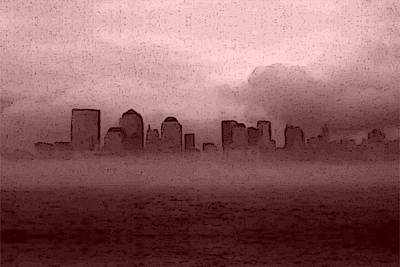 Digital Art - Foggy Manhatten Warm by Keshava Shukla