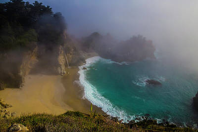 Of Big Sur Beach Photograph - Foggy Mcway Falls Cove by Garry Gay