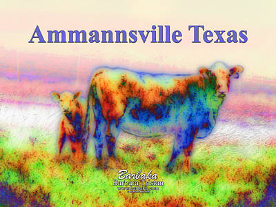 Photograph - Foggy Mist Cows #0090 Arty Ammannsville Texas by Barbara Tristan