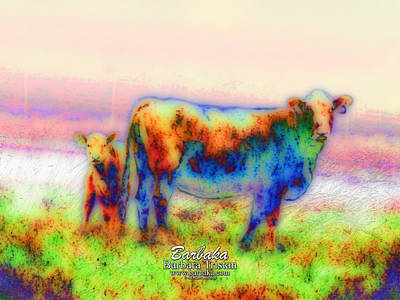 Photograph - Foggy Mist Cows #0090 Arty by Barbara Tristan