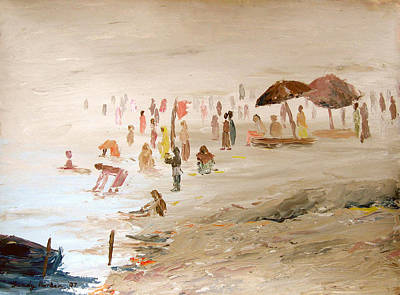 Painting - Foggy Morning At The Ghats by Art Nomad Sandra  Hansen