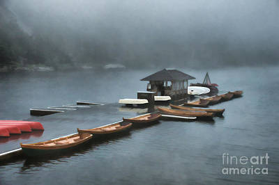 Eerie Painting -  Foggy Morning At The Lake  by Judy Palkimas