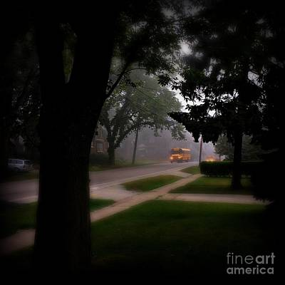 Frank J Casella Royalty-Free and Rights-Managed Images - Foggy Morning Bus Ride by Frank J Casella