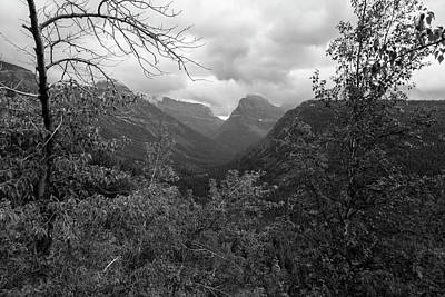 Photograph - Foggy Morning Glacier National Park Black And White by John McGraw