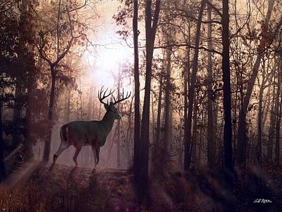 Deer Digital Art - Foggy Morning In Missouri by Bill Stephens