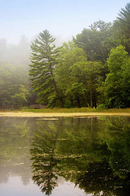 Green Lakes State Park Wall Art - Photograph - Foggy Morning Lake Reflection by Christina Rollo