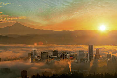 Foggy Morning Over Portland Cityscape During Sunrise Art Print by David Gn