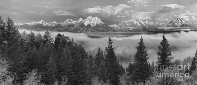 Photograph - Foggy Morning Over The Snake River Valley Black And White by Adam Jewell