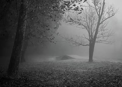 Photograph - Foggy Morning Sunrise Footbridge - Kentucky - Bw by Greg Jackson