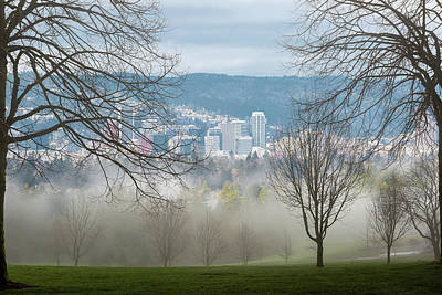 Photograph - Foggy Morning View Over Portland Cityscape by Jit Lim