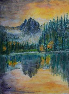 Foggy Mountain Lake Art Print by David Frankel
