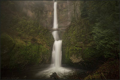 Foggy Multnomah Falls Art Print
