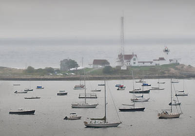 Photograph - Foggy Newport Harbour Lighthouse by Ginger Wakem