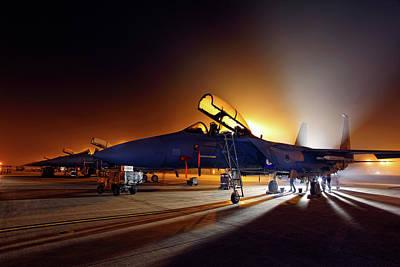 F15e Wall Art - Photograph - Foggy Night Mission by Nigel Blake
