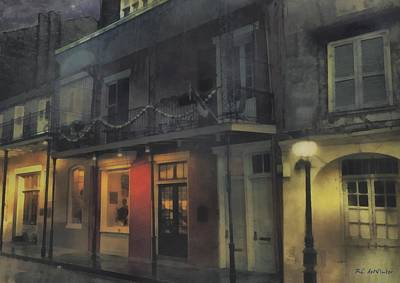 Night Lamp Painting - Foggy Night On Dumaine by RC deWinter