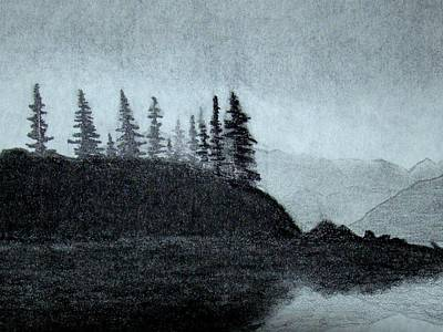 Drawing - Foggy Pine Point by J R Seymour