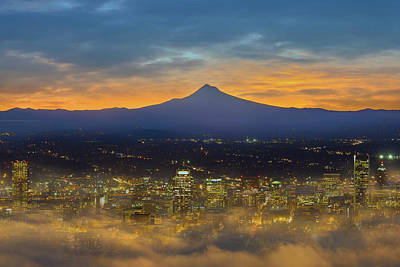 Photograph - Foggy Portland City Downtown At Dawn by David Gn