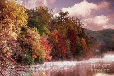 Painting - Foggy Price Lake - Autumn In The Blue Ridge Ap by Dan Carmichael