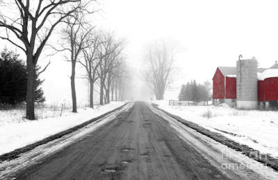 Photograph - Foggy Red Barn by Cathy Beharriell