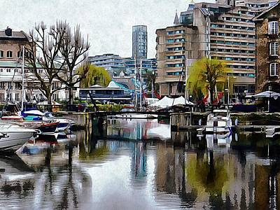 Photograph - Foggy Reflections At St Katharine Docks London by Dorothy Berry-Lound