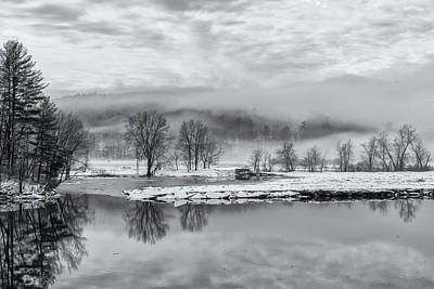 Photograph - Foggy Retreat Meadows In Black And White by Tom Singleton