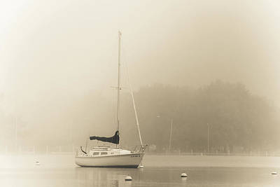 Art Print featuring the photograph Foggy Sail by Joel Witmeyer