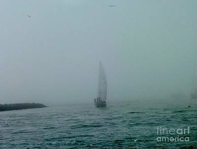 Monochrome Landscapes - Foggy Sailboat and Osprey by Linda Brittain