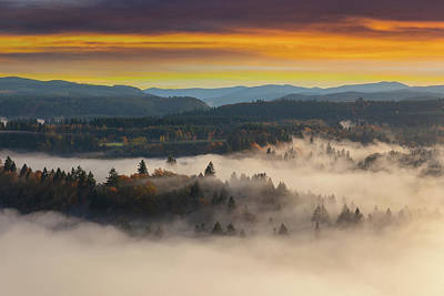Photograph - Foggy Sandy River Valley During Sunrise by Jit Lim