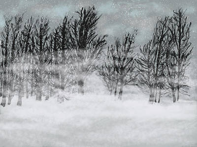 Painting - Foggy Snow Day by Dick Bourgault