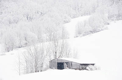 Barns In Snow Photograph - Foggy Snowy Day In Central West Virginia by Thomas R Fletcher